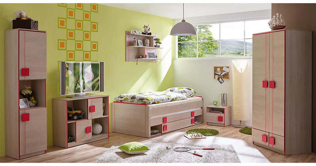 Komplett Jugendzimmer Camo, 6-tlg., (Einzelbett, Kleiderschrank, Standregal, Kommode, Nachttisch, Wandregal), rot Gr. 90 x 200