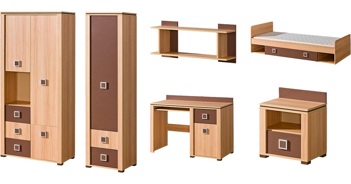 Komplett Jugendzimmer Mindi, 6-tlg. (Jugendbett, Kleiderschrank, Standregal, Schreibtisch, Nachttisch, Wandregal), braun Gr. 90 x 200