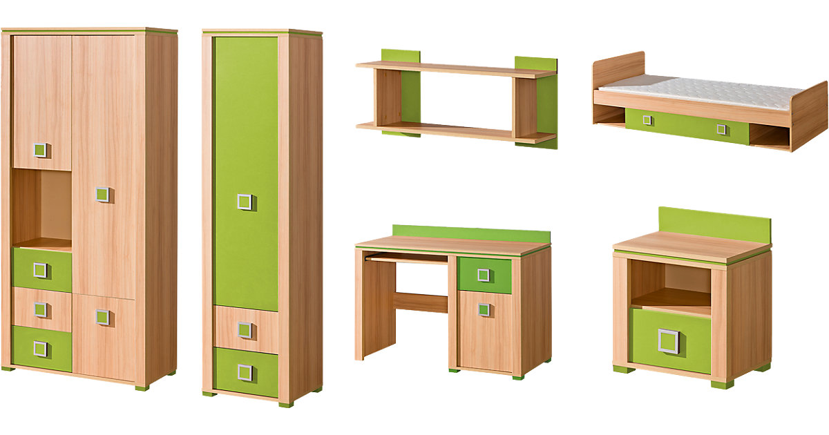 Komplett Jugendzimmer Mindi, 6-tlg. (Jugendbett, Kleiderschrank, Standregal, Schreibtisch, Nachttisch, Wandregal), grün Gr. 90 x 200
