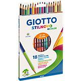 Двухсторонние цветные карандаши, 18 штук, 36 цвета.
