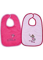Lätzchen XXL, mit Klettverschluss Little princess rosé + Schmetterling pink, 30 x 45 cm, 2er-Set