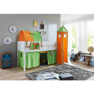 vorhangset mit turm f r spielbetten gr n orange relita. Black Bedroom Furniture Sets. Home Design Ideas