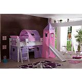 Vorhangset mit Turm für Spielbetten, Herz lila-rosa