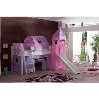 vorhangset mit turm f r spielbetten herz lila rosa. Black Bedroom Furniture Sets. Home Design Ideas