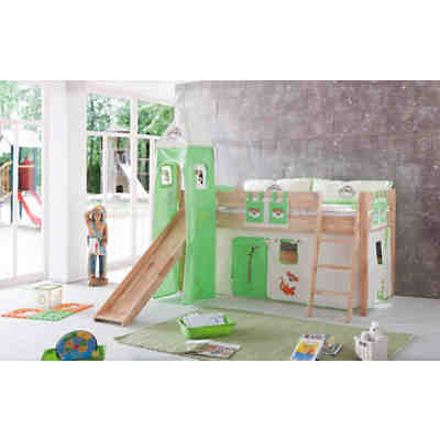 spielbett kim mit rutsche turm buche massiv natur 90 x 200 cm relita mytoys. Black Bedroom Furniture Sets. Home Design Ideas