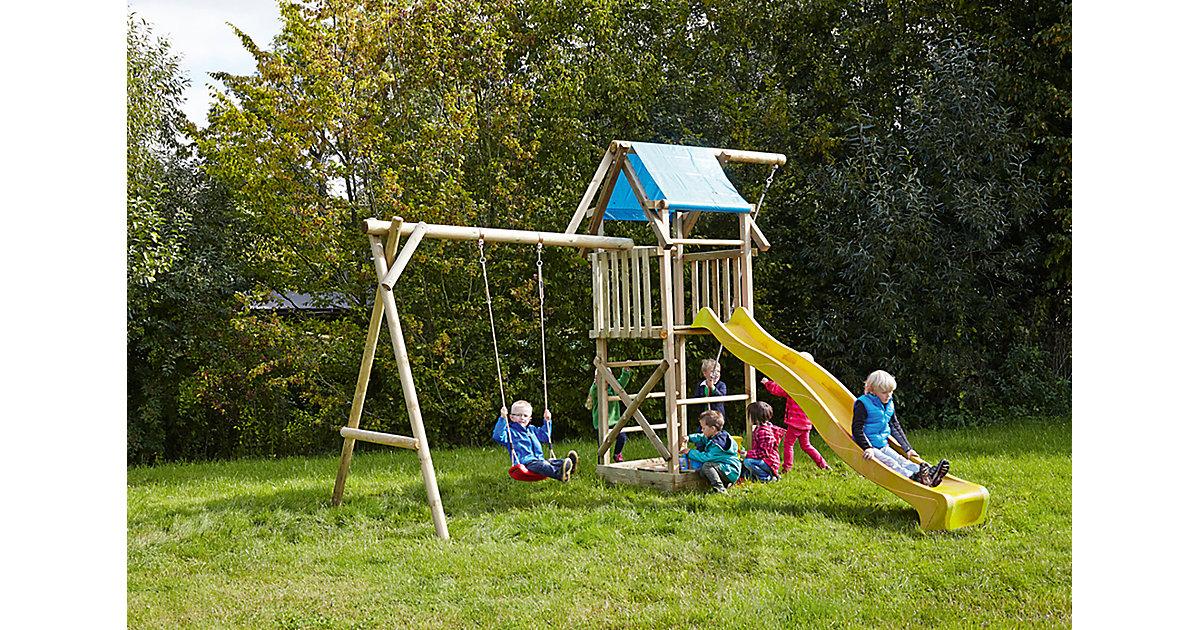 Spielturm mit Planendach, Schaukel, Sandkasten, Knotenseil und Rutsche gelb - ASTERIX -