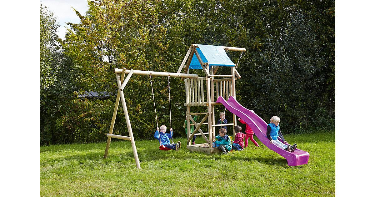 Spielturm mit Planendach, Schaukel, Sandkasten, Knotenseil und Rutsche violett - ASTERIX -