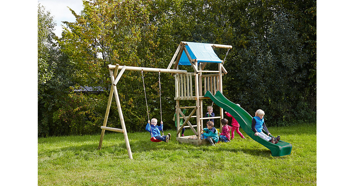 Spielturm mit Planendach, Schaukel, Sandkasten, Knotenseil und Rutsche grün - ASTERIX -