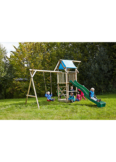 spielturm mit planendach schaukel sandkasten knotenseil und rutsche gr n asterix mytoys. Black Bedroom Furniture Sets. Home Design Ideas