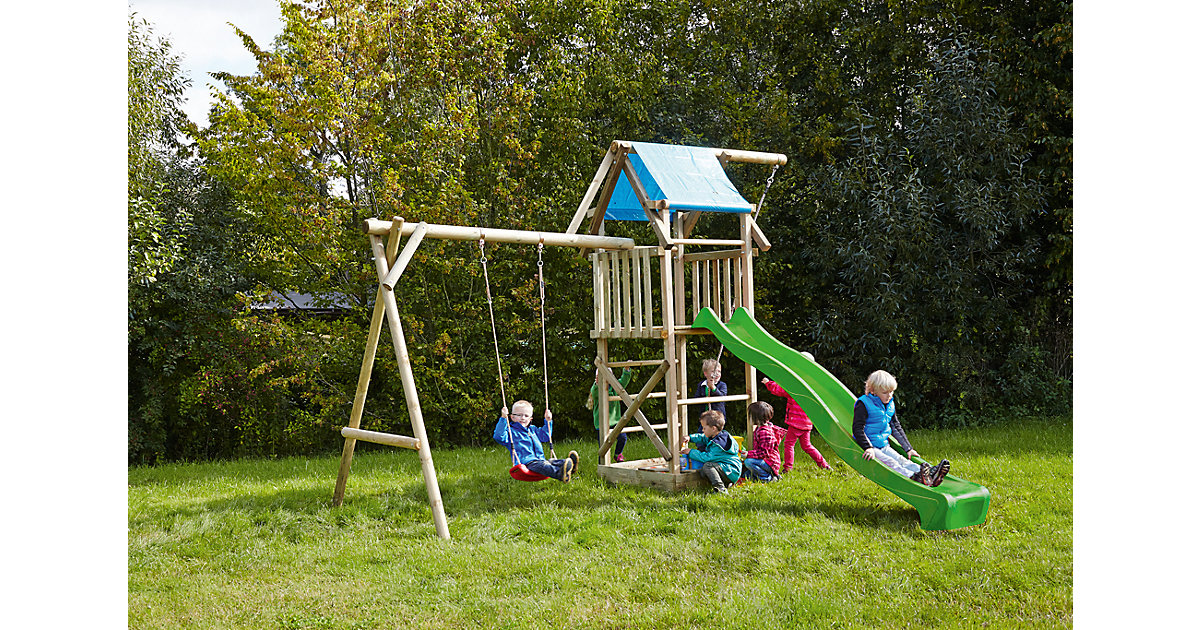 Spielturm mit Planendach, Schaukel, Sandkasten, Knotenseil und Rutsche hellgrün - ASTERIX -