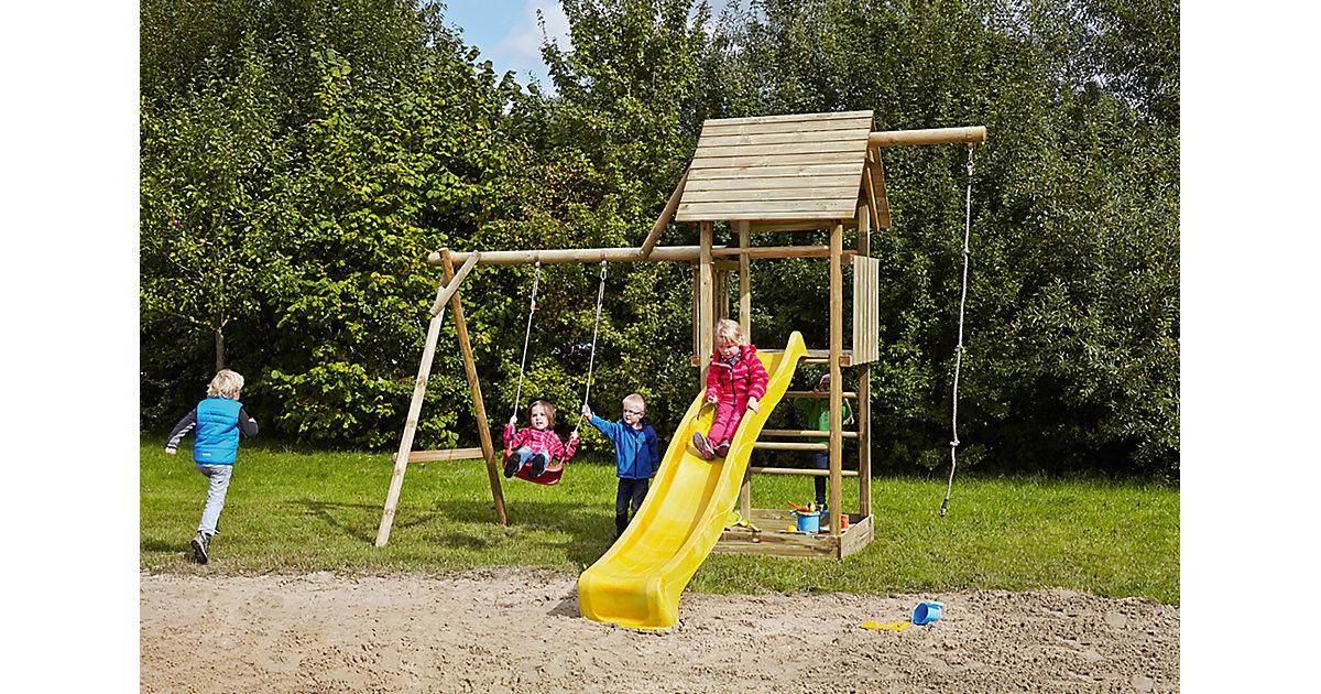 Spielturm mit Holzdach, Schaukel, Sandkasten, Knotenseil und Rutsche gelb - OBELIX -