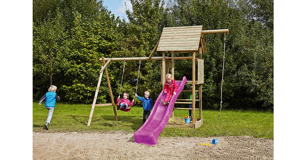 Spielturm mit Holzdach, Schaukel, Sandkasten, Knotenseil und Rutsche violett - OBELIX -