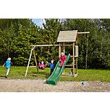 Spielturm mit Holzdach, Schaukel, Sandkasten, Knotenseil und Rutsche grün - OBELIX -