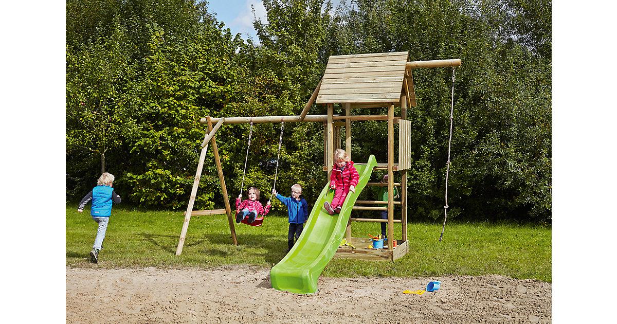 Spielturm mit Holzdach, Schaukel, Sandkasten, Knotenseil und Rutsche hellgrün - OBELIX -