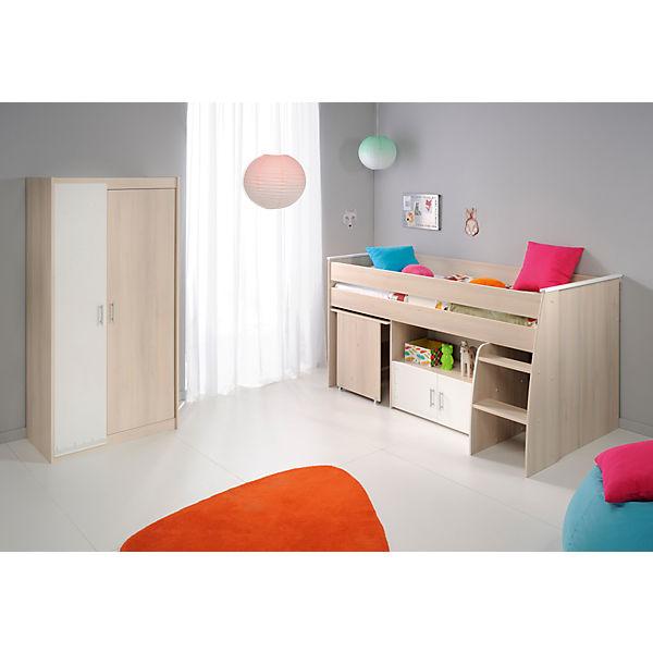 hochbett charly 90 x 200 cm inkl schreibtisch kommode und kleiderschrank 2 trg akazie. Black Bedroom Furniture Sets. Home Design Ideas