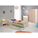 Komplettzimmer Charly 4-tlg. (Kleiderschrank 3-trg., Bett inkl. Bettschubkasten, Schubkastenkommode, Nachttisch), Akazie