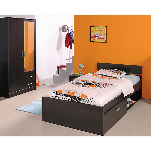 komplett jugendzimmer infinity 3 tlg kleiderschrank 2 trg bett 90x200cm nachttisch braun. Black Bedroom Furniture Sets. Home Design Ideas