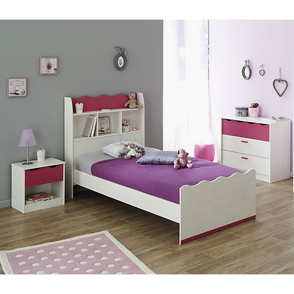komplett jugendzimmer lilou 3 tlg bett nachttisch kommode kiefer wei pink parisot mytoys. Black Bedroom Furniture Sets. Home Design Ideas