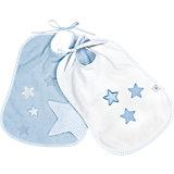 Lätzchen Sterne, 2er Pack, weiß + blau
