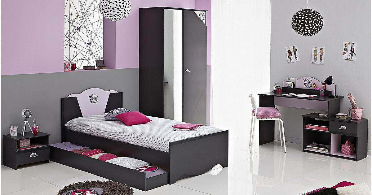 Komplettzimmer Tatoo 4-tlg. (Bett inkl. Bettschubkasten, Kleiderschrank 2-trg., Nachttisch, Schreibtisch), grau/rosa Gr. 90 x 200