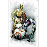 Wandsticker Star Wars Das Erwachen der Macht, R2D2 und CP3O