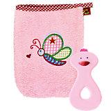 Geschenkset Waschhandschuh und Beißring rosa BabyGlück