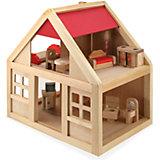 Деревянный домик с набором мебели