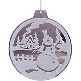 Зеркальное новогоднее украшение (диаметр 15 см), в ассортименте