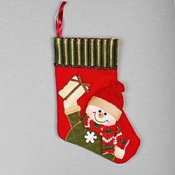 """Украшение """"Носок со снеговиком и подарком"""" 23 см"""
