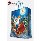 """Подарочный пакет """"Дед Мороз в санях"""" 26*32,4*12,7 см"""