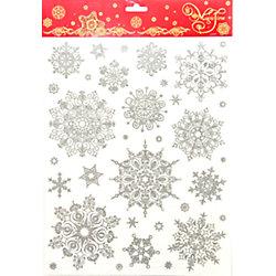 """Украшение на окно """"Объемные серебряные снежинки"""" 30*38 см"""