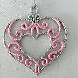 """Украшение """"Розовое сердце с серебром"""""""
