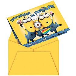 """Приглашение в конверте """"Миньоны"""" 6 шт"""