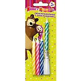 """Набор свечей с музыкой """"Happy B-day"""" 4шт * 8см, Маша и Медведь"""