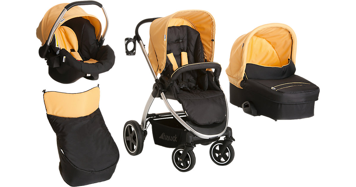 Kombi Kinderwagen Priya Trio Set, caviar/banana, 2016 orange