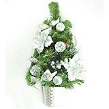 Настенная ель в корзине с серебряным декором, 45 см