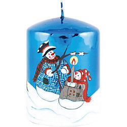 "Синяя глянцевая свеча ""Новый год"