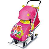 Санки-коляска Ника детям 7, Леденец, розовый