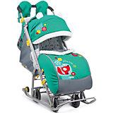 Санки-коляска Ника детям 7-2, Коллаж-лисички, изумрудный