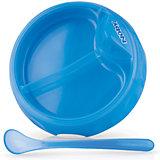 Двухсекционная  тарелка с ложкой, Nuby, голубой