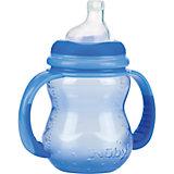 Полипропиленовая бутылочка с ручками, Nuby, 240 мл, голубой