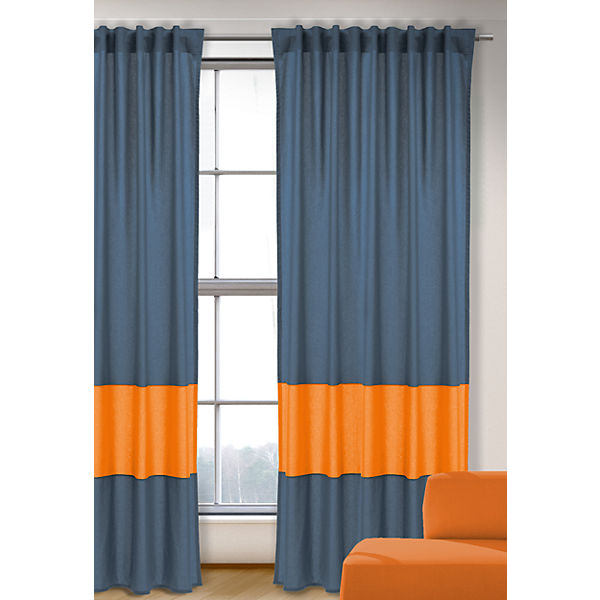 Vorhang Uni, blau-orange, 245x135, (1 Schal)
