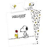 Wende- Kinderbettwäsche, Die Peanuts, Snoopy, Linon, 100 x 135 cm