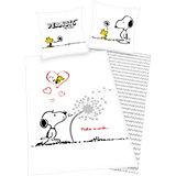 Wende- Kinderbettwäsche, Die Peanuts, Snoopy, Linon, 135 x 200 cm