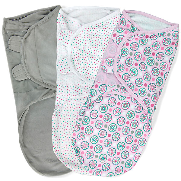 Конверт для пеленания на липучке, SWADDLEME®, р-р L, 3 шт., цветы розовый