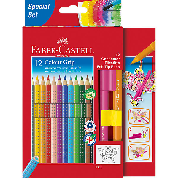 COLOUR GRIP Buntstift wasservermalbar, 12 Farben & 2 CONNECTOR Pens