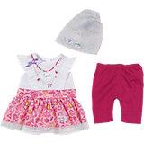BABY born® Fashion Kollektion Weißes T-Shirt, gemusterter Rock, pinke Hose