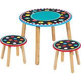 Набор: круглый стол + 2 табурета