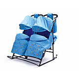 Санки-коляска для двойни ABC Academy Зимняя сказка-3 В Твин, голубой