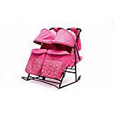 """Санки-коляска для двойни """"Зимняя сказка-3"""" В Твин, ABC Academy, розовый"""